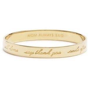 "Kate Spade Gold Bracelet ""Mom Said So"""